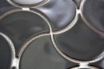 Mosaik Fliese Keramik  Fächer schwarz glänzend Welle Wandfliesen Badfliese MOS13-FSW03_m