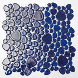Kieselmosaik Pebbles Keramik blau glänzend Duschtasse Fliesenspiegel MOS12-0405