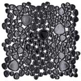 Kieselmosaik Pebbles Keramik schwarz Spots Duschtasse Fliesenspiegel MOS12-0302