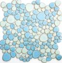 Kieselmosaik Pebbles Keramik türkisgrün hellblau Dusche Fliesenspiegel MOS12-0401