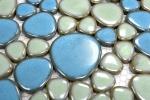Kieselmosaik Pebbles Keramik türkisgrün hellblau Dusche Fliesenspiegel MOS12-0401_m