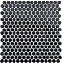 Knopfmosaik LOOP Rundmosaik schwarz glänzend Wand Küche Dusche BAD MOS10-0300