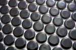 Knopfmosaik LOOP Rundmosaik schwarz glänzend Wand Küche Dusche BAD MOS10-0300_m