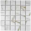 Mosaikfliese Calacatta weiß beige Keramik Feinsteinzeug Fliesenspiegel MOS14-0112_f | 10 Mosaikmatten