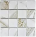 Mosaikfliese Calacatta weiß beige Keramik Badfliese Fliesenspiegel MOS16-0112_f | 10 Mosaikmatten