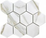 Mosaik Fliese Keramik weiß Hexagon Calacatta Wandfliesen Badfliese MOS11F-0112