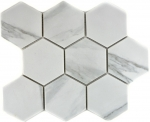 Mosaik Fliese Keramik weiß Hexagon Carrara MOS11F-0102