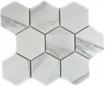 Mosaik Fliese Keramik weiß Hexagon Carrara Wandfliesen Badfliese MOS11F-0102