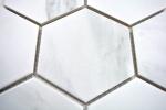 Mosaik Fliese Keramik weiß Hexagon Carrara Wandfliesen Badfliese MOS11F-0102_m