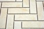 Mosaik Fliese Keramik Fischgrät Steinoptik hellbeige Fliesenspiegel Küche MOS24-SO54_m