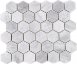 Mosaik Fliese Keramik Hexagon Travertin grau matt Fliesenspiegel Küche MOS11G-0202