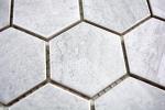 Mosaik Fliese Keramik Hexagon Travertin grau matt Fliesenspiegel Küche MOS11G-0202_m