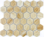Mosaik Fliese Keramik Hexagon Travertin beige matt Fliesenspiegel Küche MOS11G-1202