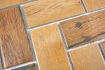 Mosaik Fliese Keramik braun Fischgrät Holz dunkel Fliesenspiegel Küche MOS24-2004_m