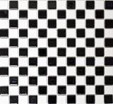 Mosaikfliese Keramik Schachbrett schwarz weiß glänzend Fliesenspiegel MOS18-0306