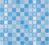 Keramik Mosaik Schwimmbadmosaik Mosaikfliese blau mix glänzend BAD Duschwand MOS18-0406