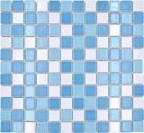 Schwimmbadmosaik Mosaikfliese Keramik blau weiss glänzend Duschwand MOS18-0407