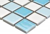 Schwimmbadmosaik Mosaikfliese Keramik blau weiss glänzend Duschwand MOS18-0407_m