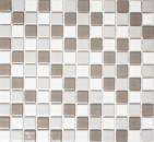 Mosaikfliese Keramik grau khaki beige weiß glänzend Fliesenspiegel MOS18-0213