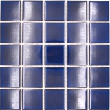 Keramik Mosaik Fliese kobaltblau dunkelblau glänzend Fliesenspiegel MOS14-0405