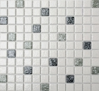 Mosaikfliese Keramikmosaik weiß schwarz grau struktur Boden Bad MOS18-0307