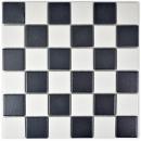 Mosaik Fliese Keramik schwarz weiß MOS14-0103-R10