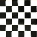 Küchen Mosaikfliese Fliesenspiegel Schachbrett schwarz weiß glänzend MOS16-CD200_f
