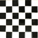 Mosaik Fliese Keramik Schachbrett schwarz weiß glänzend MOS16-CD200