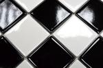 Küchen Mosaikfliese Fliesenspiegel Schachbrett schwarz weiß glänzend MOS16-CD200_m