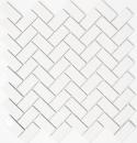 Mosaik Fliese Keramik Fischgrät weiß glänzend MOS24-CHB5WG