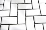 Mosaik Fliese Keramik Fischgrät weiß glänzend Küchenfliese Wandfliese MOS24-CHB5WG_m