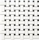 Mosaik Fliese Keramik Basket weiß matt schwarz matt MOS13-CBAS19