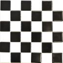 Mosaikfliese Keramik weiß schwarz matt Schachbrett Fliesenspiegel MOS16-CD202_f