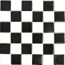 Mosaik Fliese Keramik weiß Schachbrett schwarz weiß matt MOS16-CD202