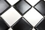 Mosaikfliese Keramik weiß schwarz matt Schachbrett Fliesenspiegel MOS16-CD202_m