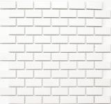 Mosaik Fliese Keramik Brick weiß matt Badewannenverkleidung MOS24-03WM_f