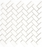 Mosaik Fliese Keramik Fischgrät weiß matt Badewannenverkleidung MOS24-CHB05WM_m