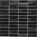 Mosaik Fliese Keramik Stäbchen schwarz glänzend Glas Fliesenspiegel Küche MOS24-ST355_f