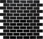 Mosaik Fliese Keramik Brick schwarz glänzend Küchenrückwand Spritzschutz MOS24-4BG