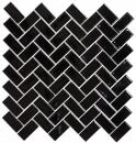 Mosaik Fliese Keramik Fischgrät schwarz glänzend MOS24-CHB6BG