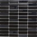 Mosaik Fliese Keramik Stäbchen schwarz matt Glas Wandverkleidung Küchenfliese MOS24-ST365_f