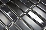 Mosaik Fliese Keramik Stäbchen schwarz matt Glas Wandverkleidung Küchenfliese MOS24-ST365_m