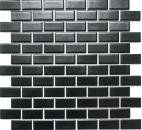 Mosaik Fliese Keramik Brick schwarz matt Duschwand MOS24-04BM_f