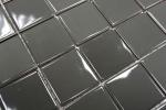 Mosaikfliese Keramik metall grau glänzend Fliesenspiegel Küchenwand MOS16B-0204_m