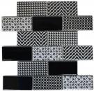 Mosaikfliese Keramik weiß grau schwarz Subway Fliesenspiegel MOS26M-0301_f