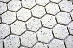 Mosaik Fliese Keramik cremeweiß Hexagaon gesprenkelt unglasiert MOS11A-0103-R10_m