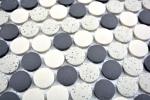 Mosaik Fliese Keramik beige schwarz Knopf Duschtasse Bodenfliese unglasiert MOS10-0113-R10_m