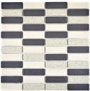 Mosaik Fliese Keramik beige schwarz Stäbchen unglasiert MOS24-0113-R10