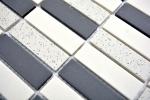 Mosaik Fliese Keramik beige schwarz Stäbchen unglasiert Duschtasse Bodenfliese MOS24-0113-R10_m