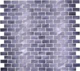 Mosaik Fliese Aluminium Brick Aluminium schwarz Fliesenspiegel Küche MOS48-0304
